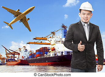 working man and commercial ship on port and air cargo plane flyi