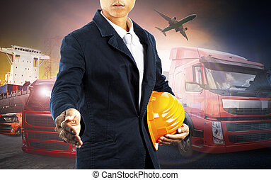 working man and container truck ,ship in port and freight cargo plane in transport and import-export commercial logistic ,shipping business industry