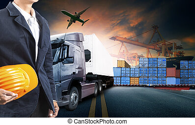 working man and container truck