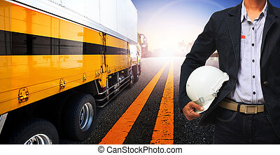 working man and container truck use for land transport,industry logistic business ,people in occupation theme