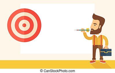 Working man holding a target arrow - A working hipster man...