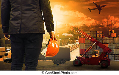 working man in container dock and land ,air transport...