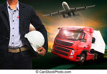 working man in land by truck and air by plane logistic industry , transportation business