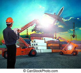 working man in logistic business working in container shipping y