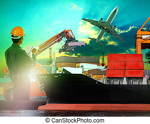 working man in logistic business wo
