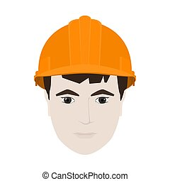 Working Man in Orange Hard Hat - Working Man in a Hard Hat,...