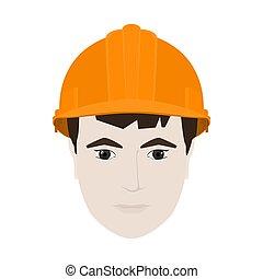 Working Man in Orange Hard Hat - Working Man in a Hard Hat,...