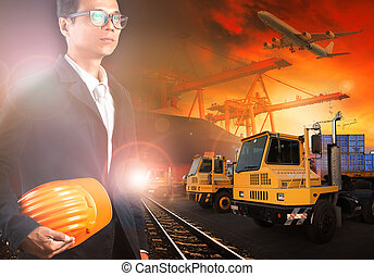 working man in ship yard and transprtation industry