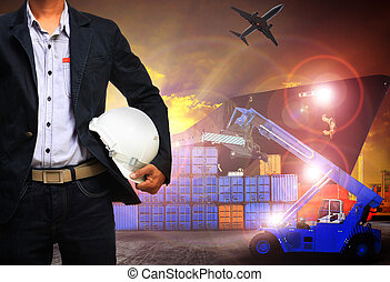 working man in shipping port,freight cargo ,logistic and import,export business