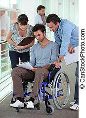 Working man in wheelchair