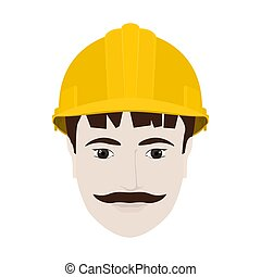 Working Man in Yellow Hard Hat - Working Man in a Hard Hat,...