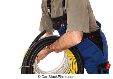 working man with different cable
