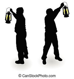 working man with lantern in hand black silhouette