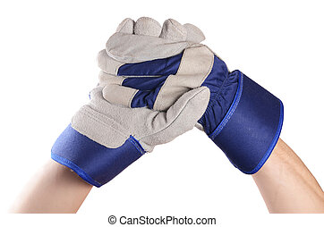 Working mens gloves on white background - Working mens ...