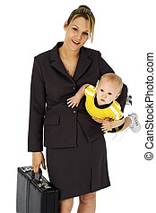 Business woman with briefcase and baby.