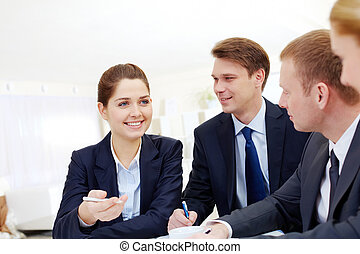 Working moment - Image of successful employee explaining...
