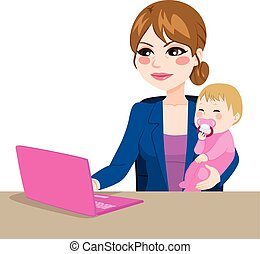 Focused mother multitasking working on laptop while holding little baby girl