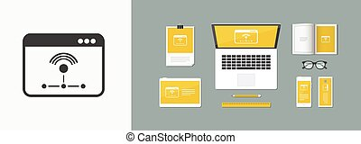 Working network - Vector flat minimal icon