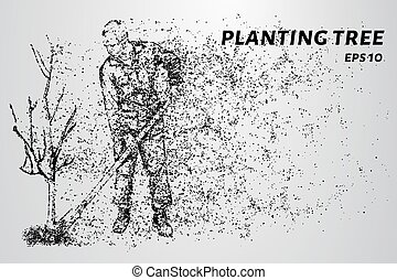 Working of the particles. Man planting a tree. Vector illustration.