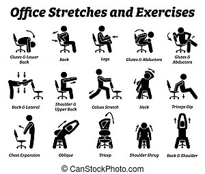 Working office stretches and exercises to relax tension muscle.