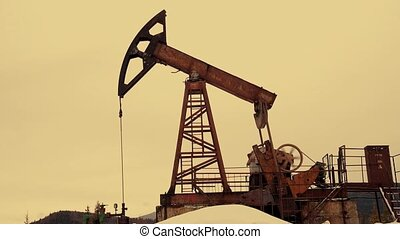 Oil Pump Silhouette - Working Oil Pump Silhouette. Working...