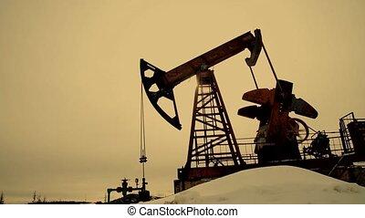 Oil Pump Silhouette - Working Oil Pump Silhouette. Working...