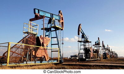 working oil pumps in a row