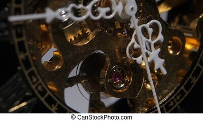 Working old clock mechanism. Close up