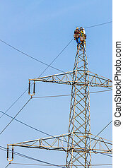 working on a power poles - construction of a new...