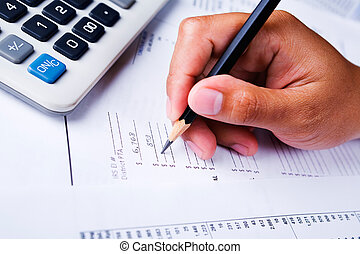 Working on financial report