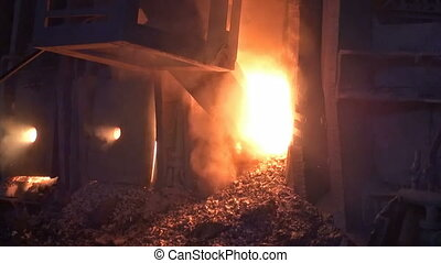 Working open-hearth furnace at the metallurgical plant