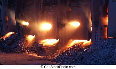 Working open-hearth furnace