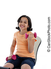 Working Out - Child working out on a white background