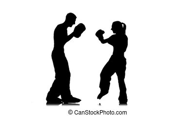 Working out of direct blows of kickboxing on boxing paws ....