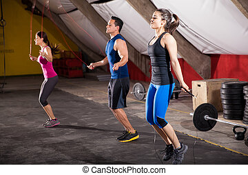 Working out with a jump rope