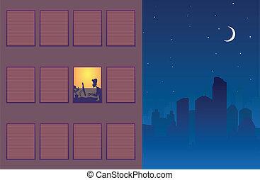 Working Overtime - Illustration of one window still alight...