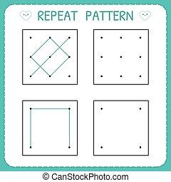 Working page for children. Repeat pattern. Preschool worksheet for practicing motor skills. Kindergarten educational game for kids. Vector illustration