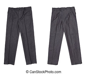 Working pants black color. Isolated on a white background.