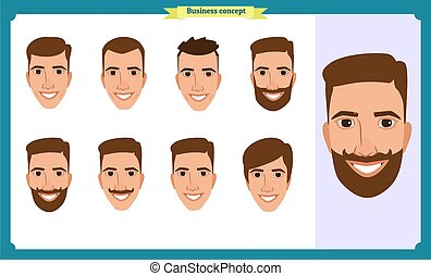 working people, business man avatar icons. Flat design people characters. Business avatars set. Isolated vector on white. Front, side, back. for design, animation.