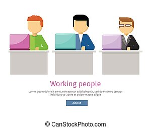 Working People Web Banner. Man Works with Laptop