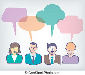 people with colorful speech balloon