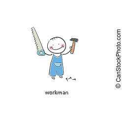 Working people. - Working man. Illustration.