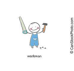 Working people. - Working man. Illustration.