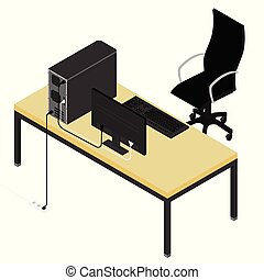 Working place desk and office chair. Personal computer on the desk in the office. New employee, co-worker to the team