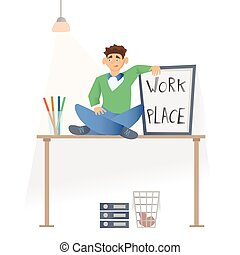 Working place in the office. A young man in casual clothes sittting on the desktop. Vector illustration, isolated on white.
