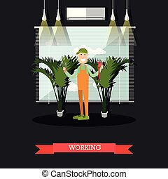 Working plumber vector illustration in flat style