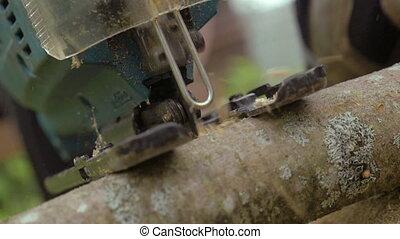 Working Power Jigsaw Cutting Wood