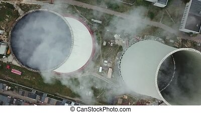 Working power station - Couple of cooling towers of the...