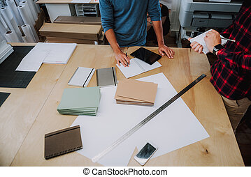 Working process of young designers in office