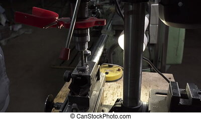 Working process on lathe with drill in workshop - Video of ...